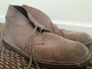 Old reliable tan suede desert boots by Clarks. Beat-up, but durable.