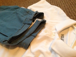 A white polo lets show mix in other colors without overdoing it. Shorts by J. Crew.