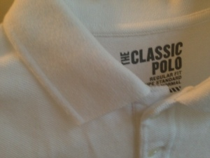 The 'Classic Polo' in white from Old Navy. About as inexpensive & simple as it gets.