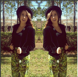My velvet blazer paired with palm patterned pants. Taken from my instagram: @oliviahayhoe