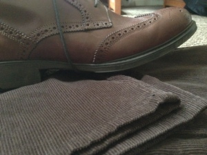 Brown wingtip boots -- the perfect pairing with corduroy.