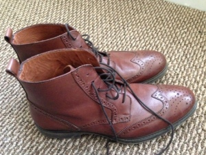 The JCP Stafford wingtip boots in the flesh.