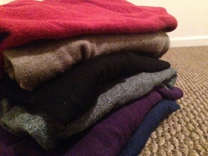 A plethora of v-neck sweaters. From top to bottom: Old Navy, J. Crew Factor, J. Crew, Old Navy, Express, Frank & Oak.