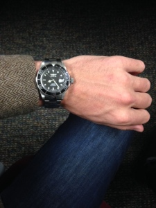 The watch on a fairly medium-sized wrist. Paired with J. Crew herringbone blazer.