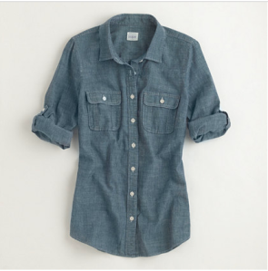J. Crew's chambray shirt. Nice texture for winter, without a doubt.