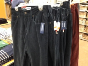 Corduroys on sale at Old Navy.