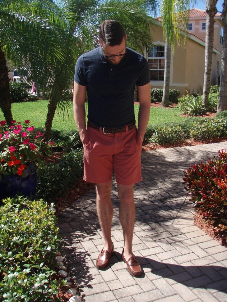 With spring officially here, reach for a polo and matching shorts. Navy polo and shorts by J. Crew Stanton. Belt by Target Merona. Glasses by Burberry.