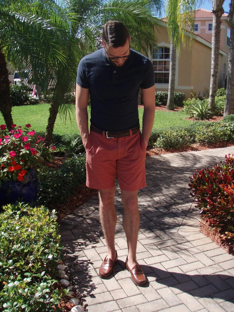 Warmer weather means it's time for shorts. Navy polo and shorts by J. Crew Stanton. Belt by Target Merona. Glasses by Burberry.