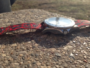Use a watch strap to inject some color into a look on sunny days.