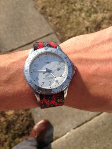 The Knottery's patterned paisley watch strap. Watch by Timex Ameritus.