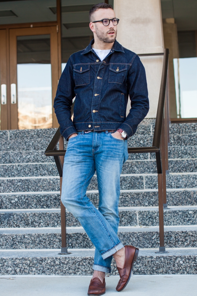 Rocking double denim. Jeans by J. Crew (484 fit). Jacket by American Apparel. Henley by Mossimo. Loafers by Bass.