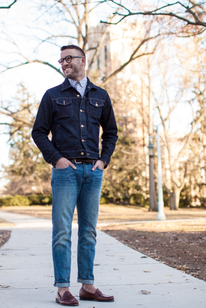 A spring essential — the denim jacket. From American Apparel. Printed shirt by Express. Loafers by Bass. Glasses by Burberry.