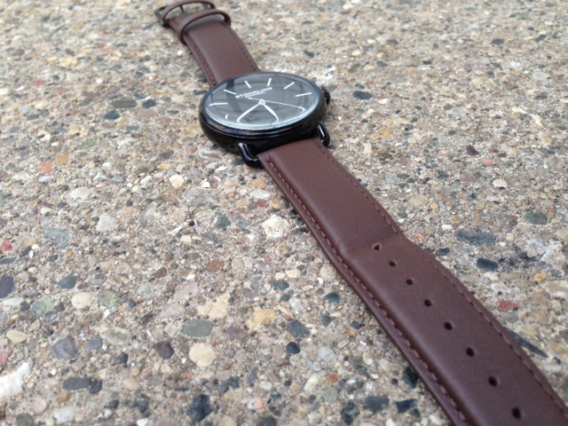 The Stuhrling Original Classic Ascot Agent. With brown leather and a black dial.