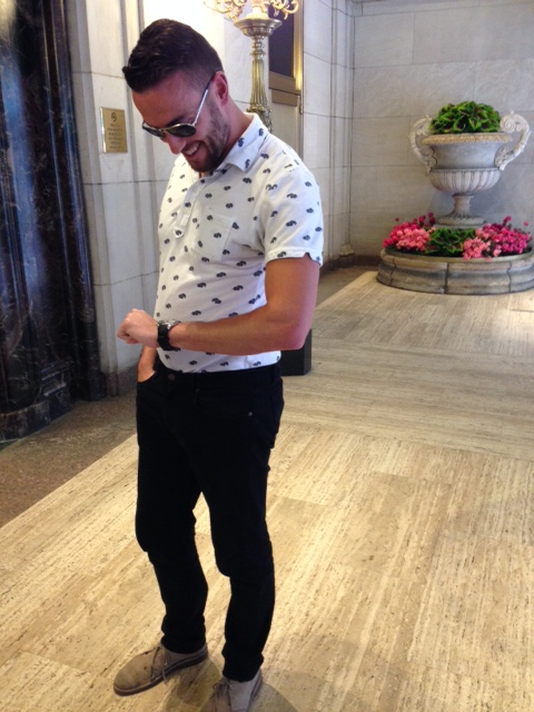 One of the printed polos from the collection. Black jeans by American Apparel. Desert boots by Clarks. Watch by Stuhrling. Sunglasses by Tom Ford.