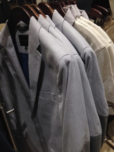 A selection of lighter-weight blazers on display.