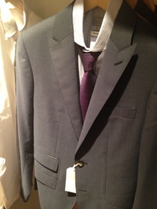 Peak lapels help this suit stand out from other, more plain suiting options.