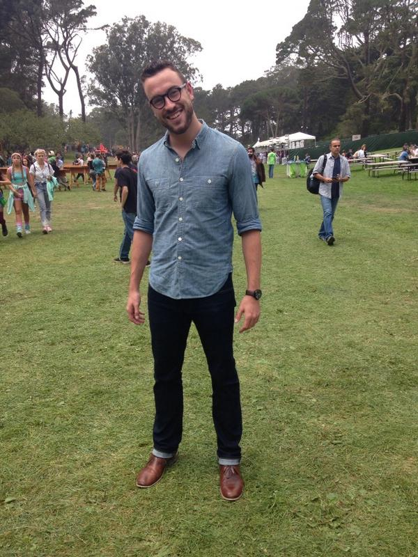 Chambray shirt by J. Crew. Jeans by Uniqlo. Boots by Steve Madden. Watch by Stuhrling. Glasses by Burberry.