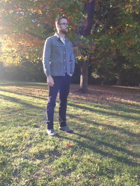 Jacket by Gustin. Henley by Frank and Oak. Jeans by American Apparel. Boots by Palladium. Photo credit: Liz Todd.