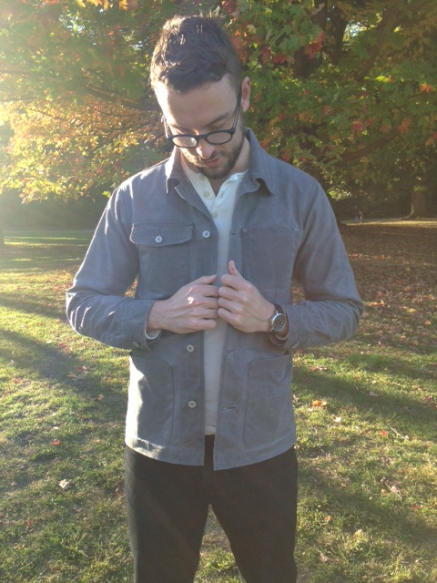 Chore Coat by Gustin. Henley by Frank and Oak. Jeans by American Apparel. Watch by Timex.