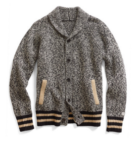 A vintage-looking, sport-inspired shawl cardigan for when it gets cold.