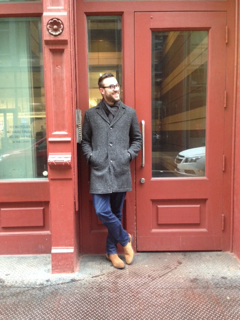 Suede Chelsea boots on display in SoHo. Overcoat: Kenneth Cole. Scarf: J. Crew Factory. Gloves: Target Merona. Jeans: Bonobos. Boots: ASOS. Photo credit: Liz Todd