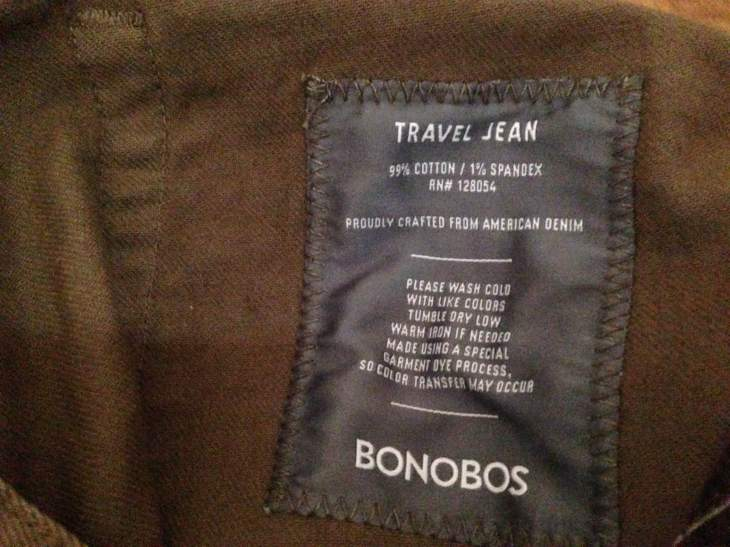 A closer look at the detailed label now sewn into newer Travel Jeans.