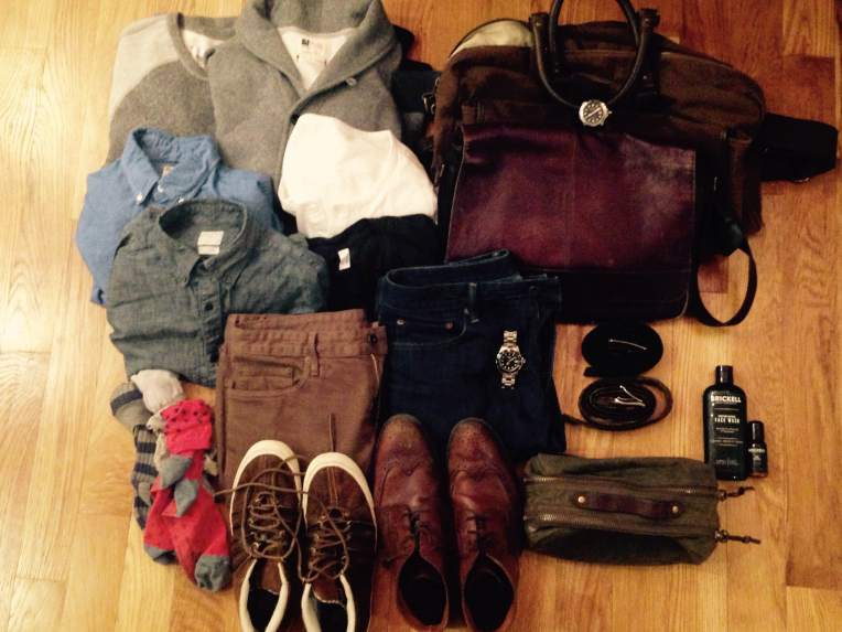 Most of what's going in the bag this weekend. Sweaters and shirts top left, bags top right. Jeans, shoes and socks bottom left. Dopp kit and other accessories on the bottom right.