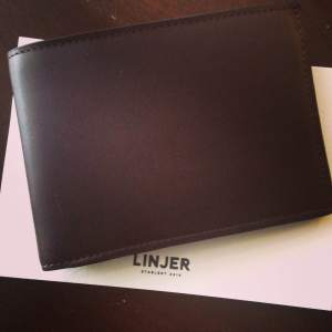 A beautiful leather billfold in mocha from Linjer — read on for details on how to enter!