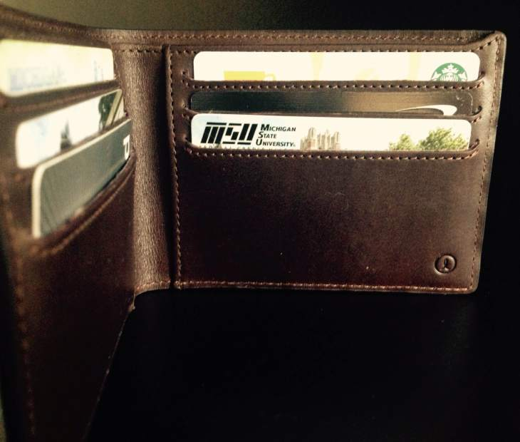 The mocha billfold in action.  What bank do I belong to and where am I from? There you go.