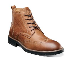 A wingtip option that combines tan leather with a grippy-looking sole.