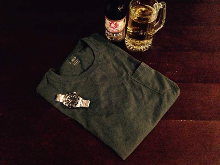 Slim green pocket T-shirt by J. Crew. Watch by Invicta. No beer was spilled during this photo shoot. Trust me.