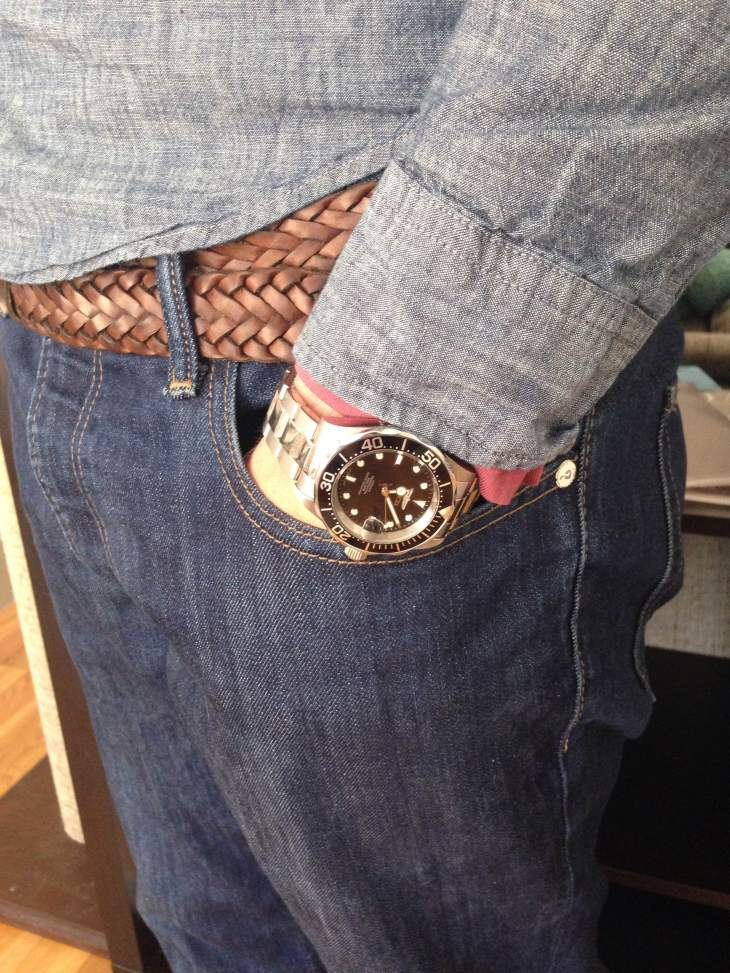 Just one of the many ways to style Gap's clean chambray shirt. Watch by Invicta. Braided leather belt by Target Merona.