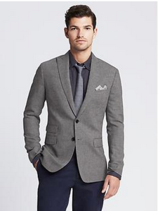 Sharp peak lapels & a ticket pocket on a cotton-linen blazer.