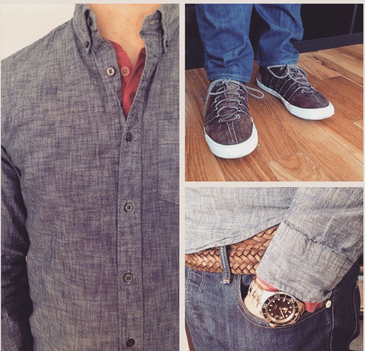 """""""Clean wash"""" chambray shirt and red henley by GAP. Slim jeans by Bonobos. Watch by Invicta, Sneakers by Billy Reid for K-Swiss."""