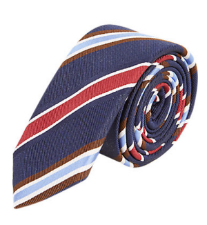 Rebelling from the classic repp stripe tie.