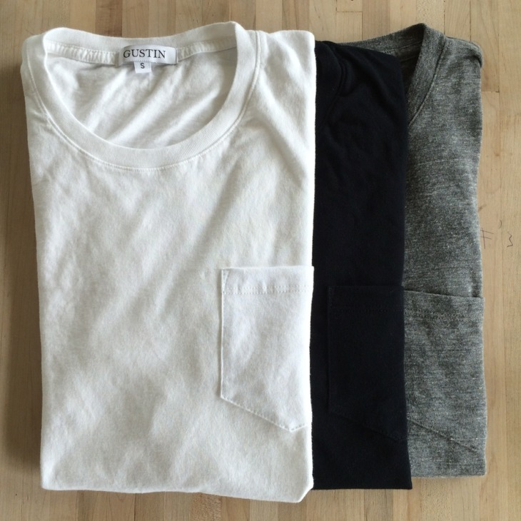 Three colors of this pocket T-shirt available for simple, easygoing style.