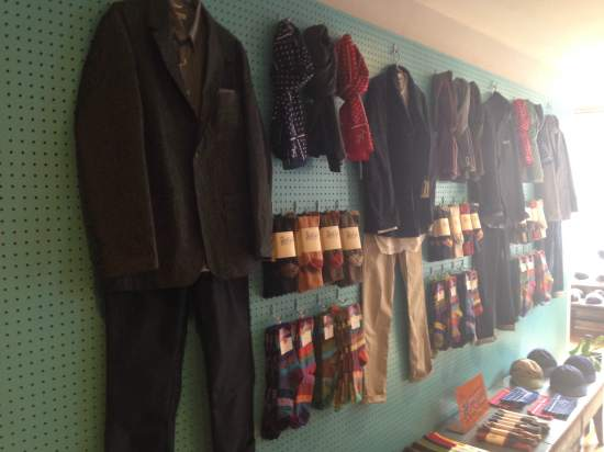 Some of the store's wares, including standout socks and great chinos, on display in Brooklyn.