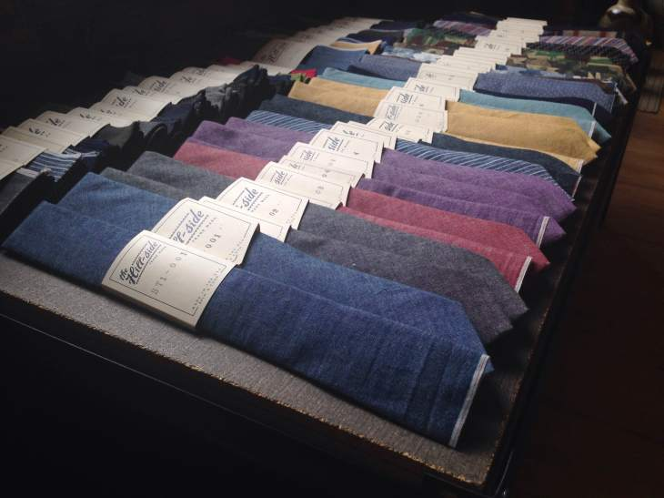 Beautiful ties in textured fabric from The Hill-side.