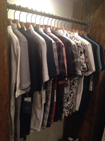 A rack full of lovely cotton buttondowns from Saturdays NYC. If you look closely, you can spot this week's Style Pick!