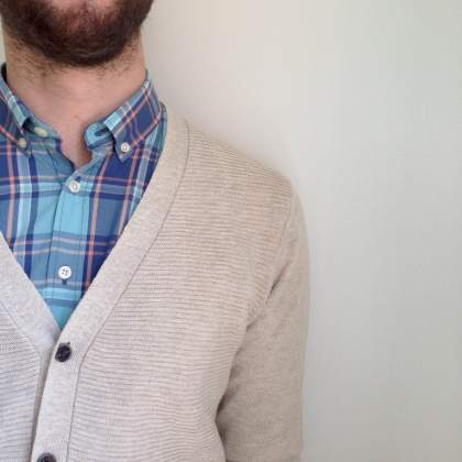 The Linen Cardigan & Cotton Plaid Shirt both fit trim and provide nice breathability.