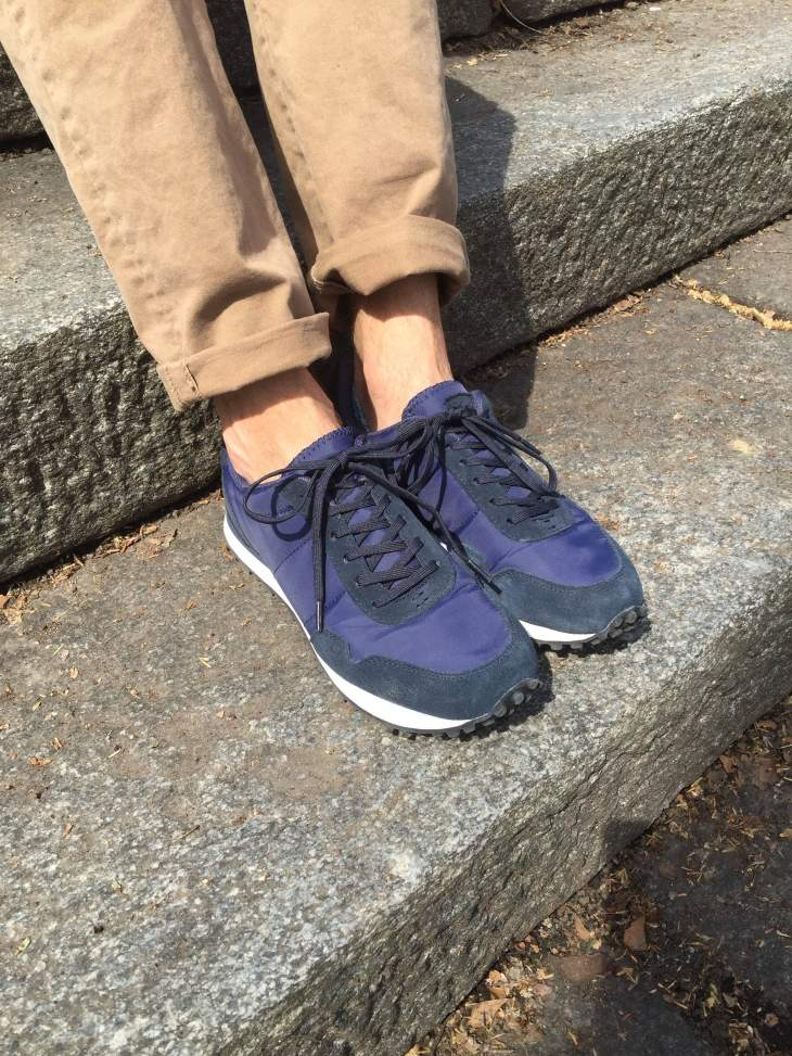 These sneakers would work just fine with longer, patterned socks, but no-show socks fit just fine.