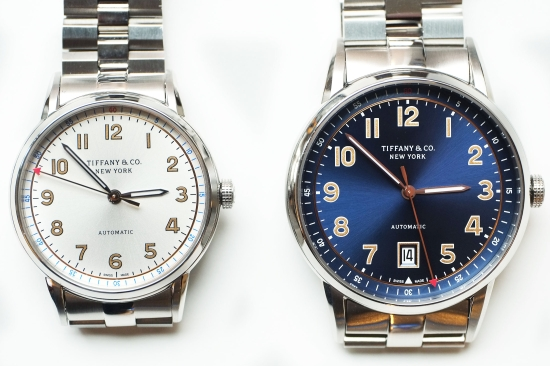 On the left: The women's 34mm stainless steel option. On the right: the 40-mm men's option.