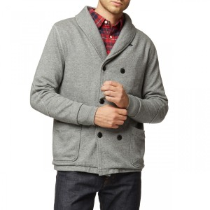 Design details like the shawl collar make this piece masculine and tough.