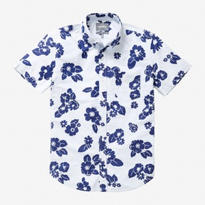 A wild blue floral print grounded thanks to subtle stripes.