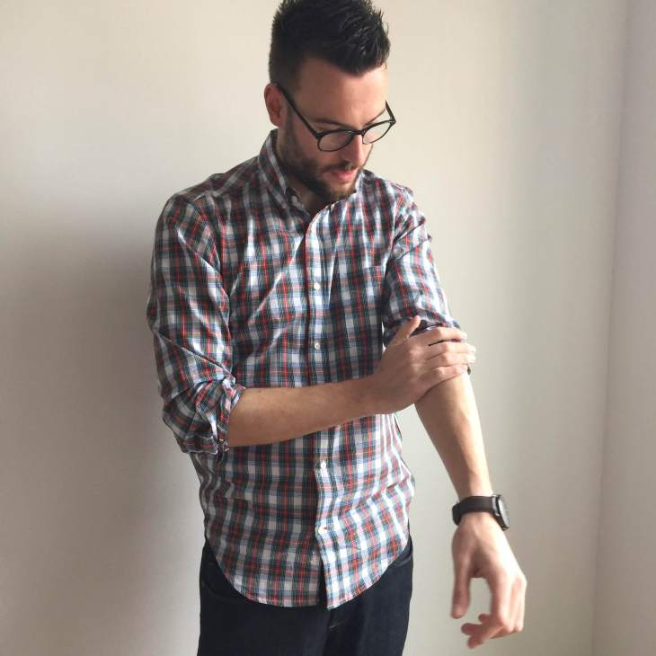 Dark denim with a hint of stretch, like the Mosco Skinny fit from Mott & Bow, also works well for  this style upgrade. Spring Plaid Shirt by Gustin. Brown leather watch by Stuhrling. Glasses by Warby Parker.