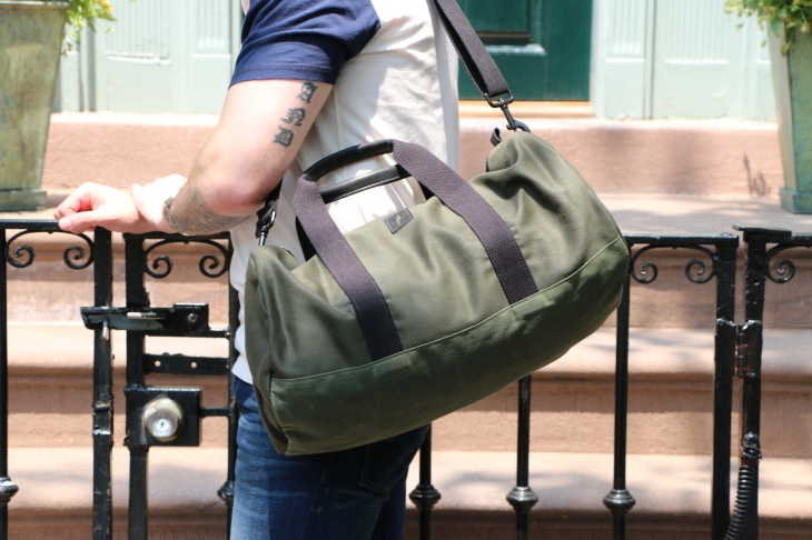 The Kennedy Duffel in Olive. Grab and go to the gym or the beach.