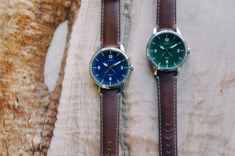 Your choice of a lovely blue or deep green dial (with black or brown leather strap), plus a classic field watch design from the newly launched Alberta Watches.