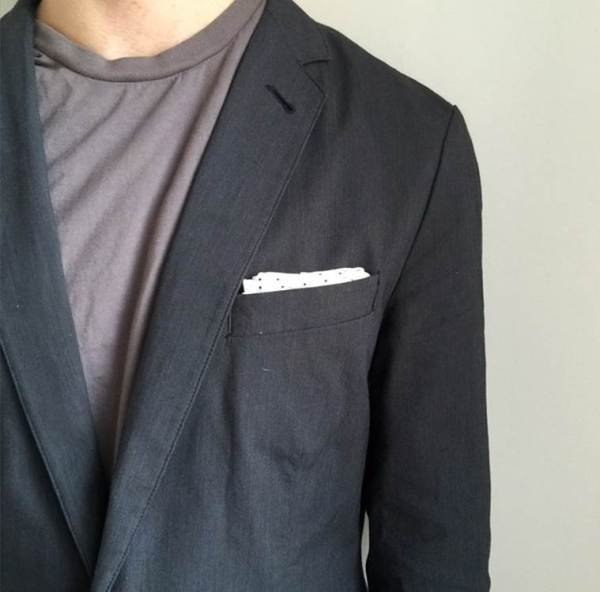 Another versatile layering option that could work in the heat. Pocket T-shirt by Everlane. Unconstructed blazer and pocket square by J. Crew Factory.