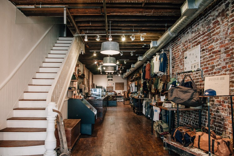 The interior of the seriously cool (and ethical!) United by Blue flagship store and coffee shop.