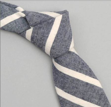Japanese navy fabric and white stripes make for one sharp tie.